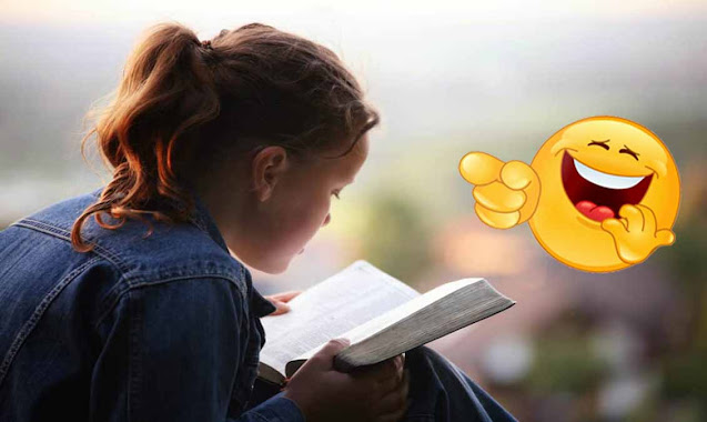 A church girl reading her bible alone