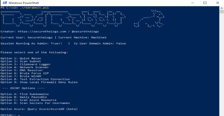 RedRabbit : Red Team PowerShell Script