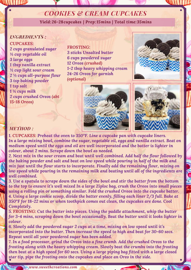 COOKIES & CREAM CUPCAKES RECIPE