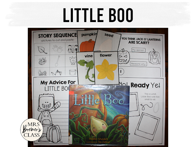 Little Boo book study companion activities for Halloween K-1
