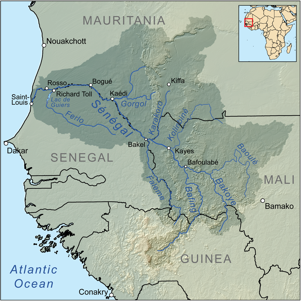 Mapa do Rio Senegal