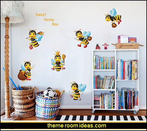 Little bee cartoon animal children's room baby bedroom decoration self-adhesive wall sticker bumble bee bedrooms - Bumble bee decor - Honey bee decor - decorating bumble bee home decor - Bumble Bee themed nursery - bee wallpaper mural decals - Honeycomb Stencil - hexagonal stencils - bees in springtime garden bedroom -  bee themed nursery - black yellow bedroom ideas
