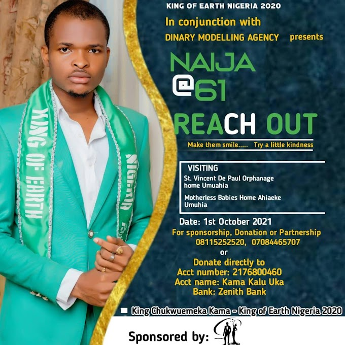 King and Beauty Earth Nigeria Set to visit orphanages homes in Umuahia Abia state