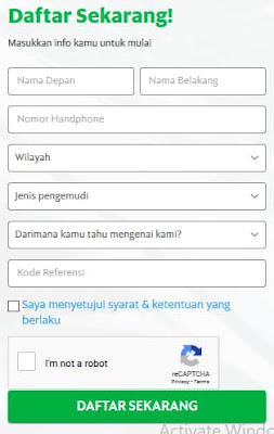 Formulir Pendaftaran GrabCar Muara Bungo