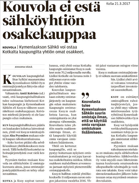 Pekka Korpivaara Kymeenlaakson Sähkön osakekauppa