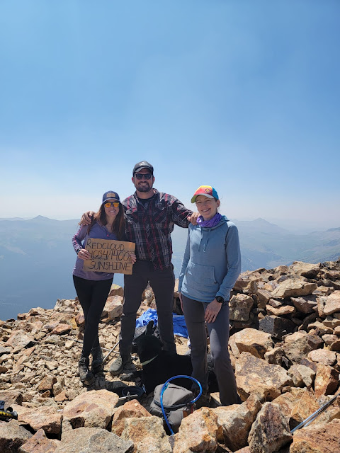 three people and a dog on a mountain top