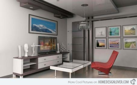 Một phòng khách cực kỳ đơn giản và hiện đại cho những người độc thân