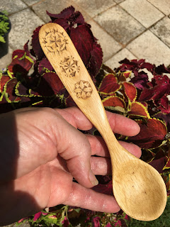 carved wooden spoon oak with chip carving