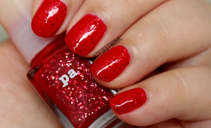 Pa Nail Color A81 nail polish red jelly glossy gold fuchsia pink red glitters close up