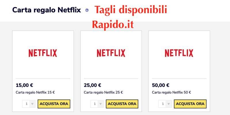 tagli disponibili delle gift card netflix 15 euro 25 euro 50€