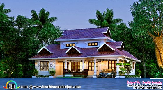 Stunning front elevation of Kerala style traditional home