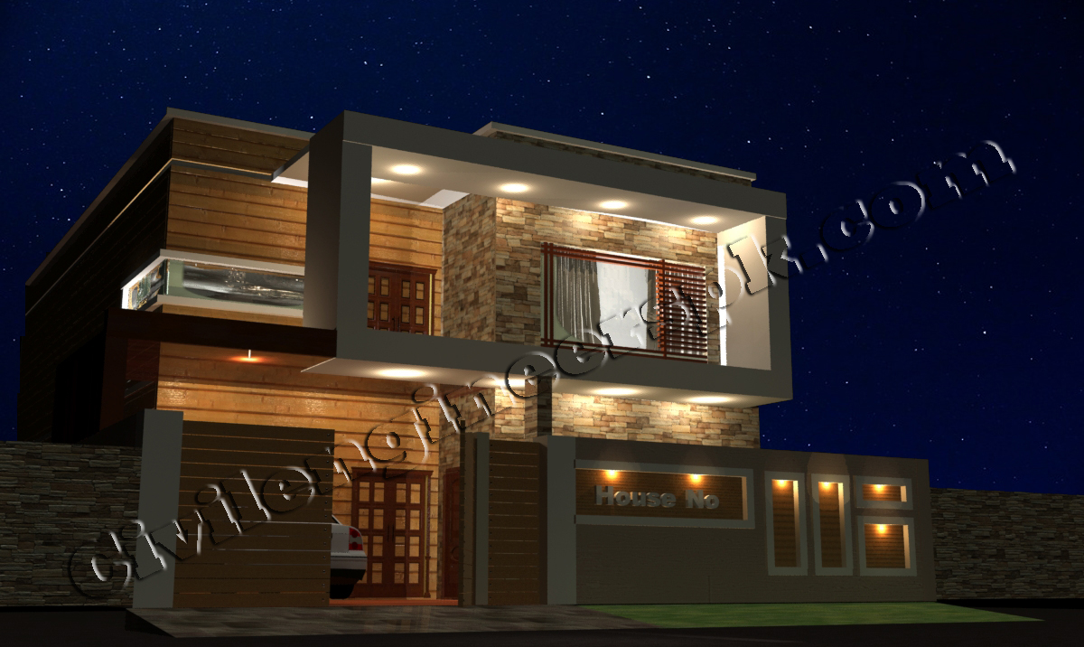 Front Elevation Of 10 Marla House : New marla house design autocad d maps