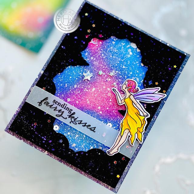 Cardbomb, Maria Willis,Hero Arts, Starry Clouds Infinity Dies, Fairy Kisses,galaxy,stars, cards, cardmaking, hamdmade, stamps, ink, paper, papercraft, diy, vellum, heat emboss,