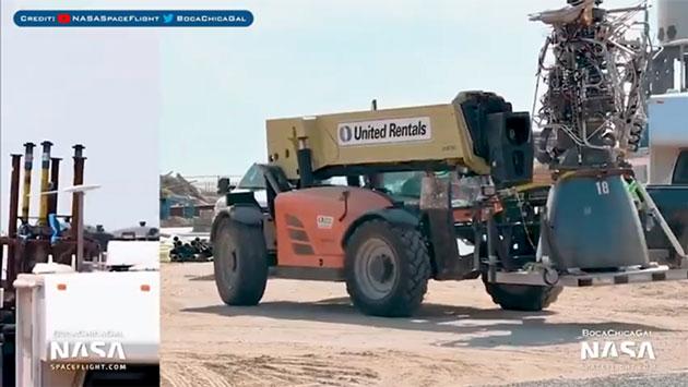 Raptor engine being transported on rented telehandler (Source @BocaChicaGal)