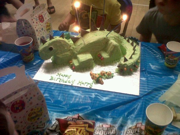 Strawberry shortcake harry 39 s dinosaur cake part 2 for How to make a dinosaur cake template