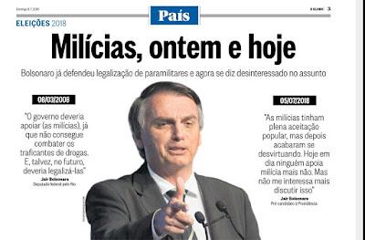 Manchete de jornal com apoio de Bolsonaro às milícias