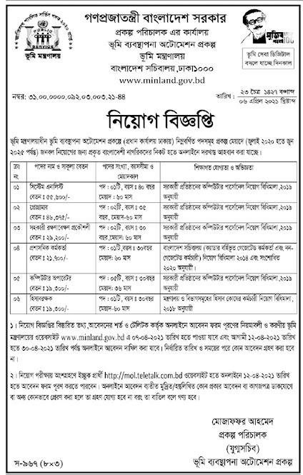 Ministry Of Land Job Circular 2021 ভূমি মন্ত্রণালয় নিয়োগ বিজ্ঞপ্তি ২০২১