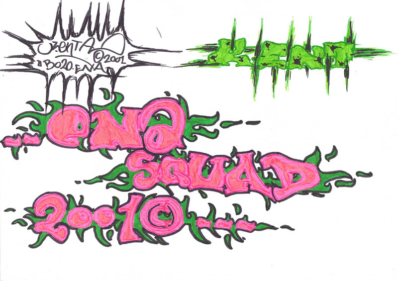 Ena Squad letters. Green and Pink markers. Original naive, vintage graffiti sketch on copy paper by Kostas Gogas (akney), signed as Kent from his first Folder, 2001. ENA graffiti crew.