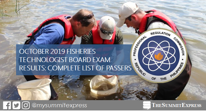 FULL RESULTS: October 2019 Fisheries Technologist board exam list of passers, top 10