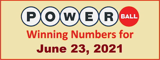PowerBall Winning Numbers for Wednesday, June 23, 2021
