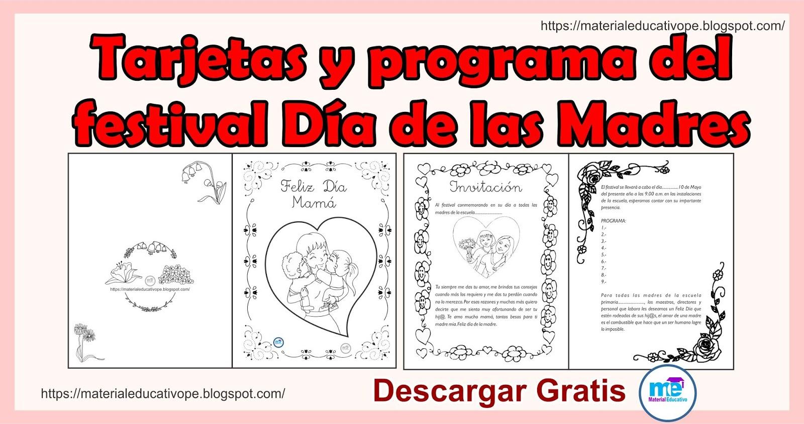 Tarjetas Y Programa Del Festival Día De Las Madres
