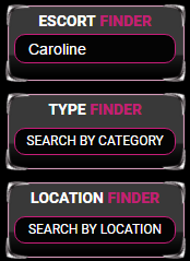 A screen shot taken of the Escort Category Finder from Crush Escorts the London escort Agency.