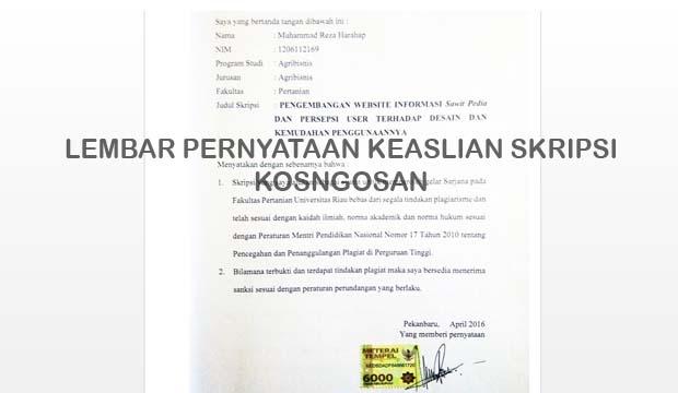 Contoh Lembar Surat Pernyataan Keaslian Skripsi Doc Dan Cara