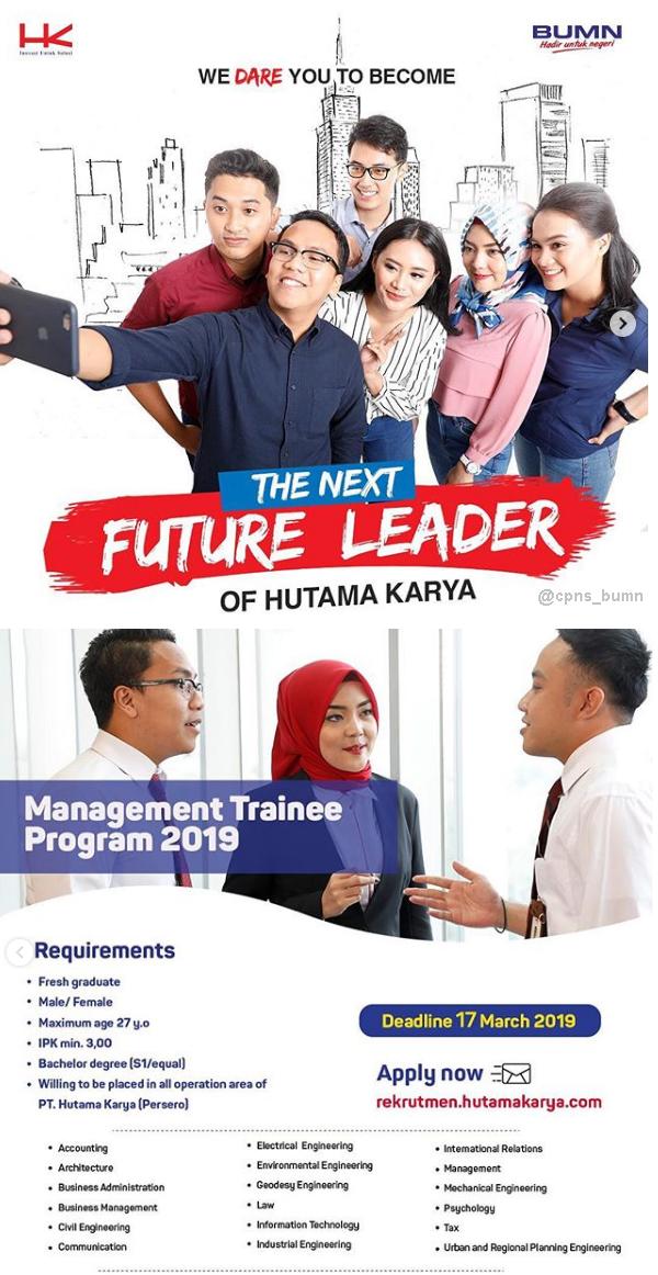 Lowongan Kerja BUMN PT Hutama Karya (Persero) Maret 2019