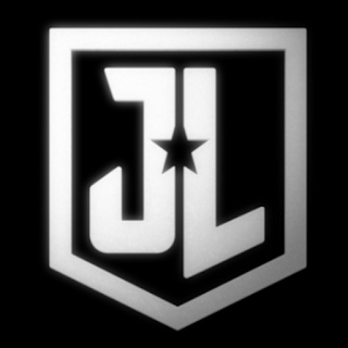 J L and a cut out star in a shield shape - justice league logo