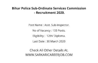 BPSSC Recruitment 2020 | 133 S.I Posts BPSSC Vacancy 2020.