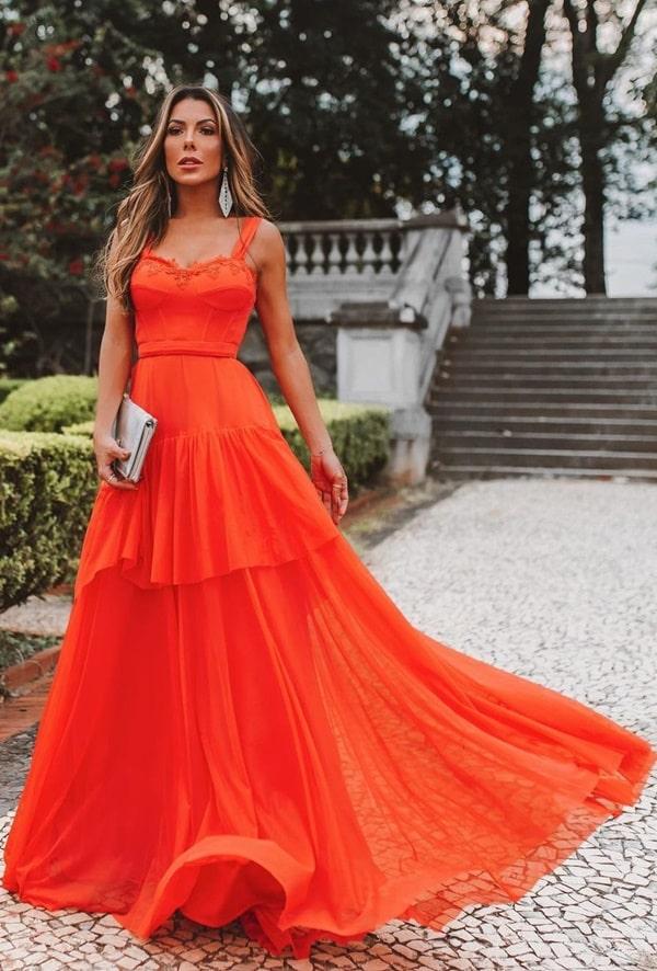 vestido longo laranja para madrinha de casamento