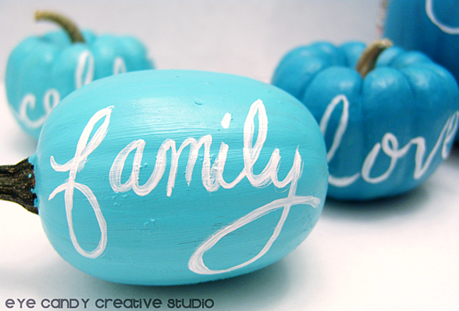 hand lettering on pumpkins, DecoArt patio paint on pumpkins, blue pumpkins