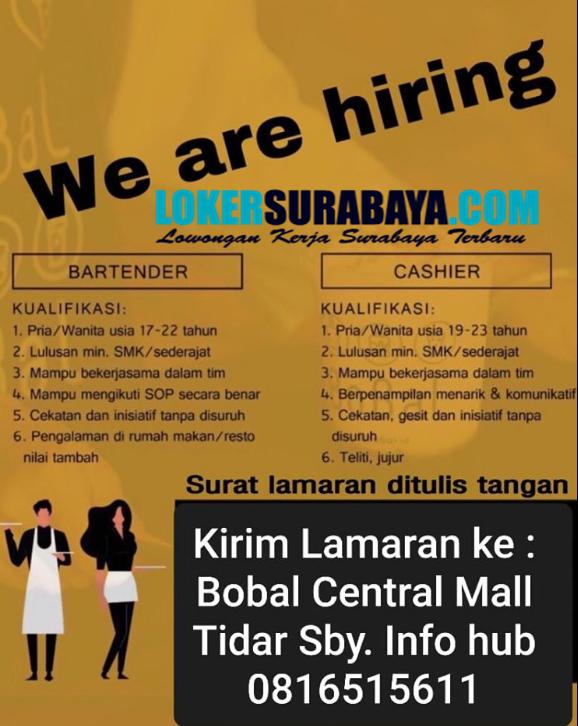 We Are Hiring At Bobal Central Mall Surabaya Januari 2020 Lowongan Kerja Surabaya Oktober 2020 Lowongan Kerja Jawa Timur Terbaru