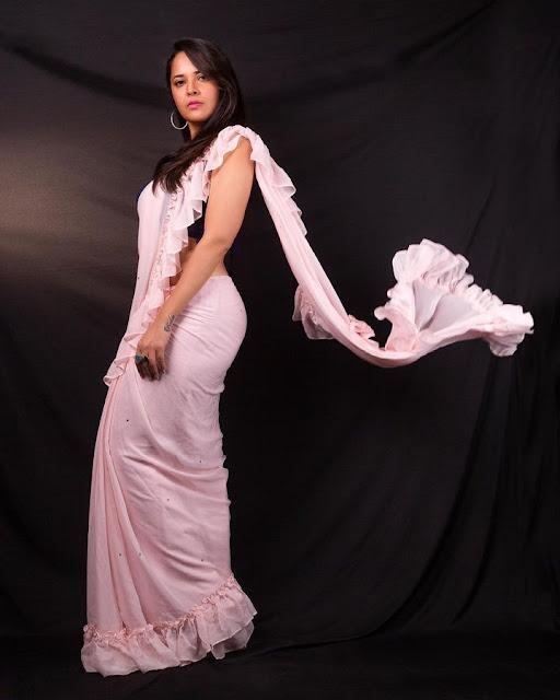 Anasuya Bharadwaj New Hot Saree Photos in Blue Blouse Actress Trend
