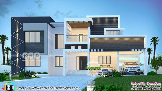 Contemporary modern home architecture rendering