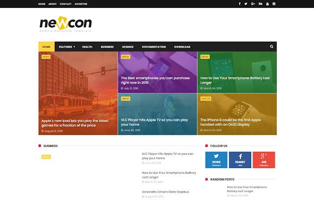 Newcon Responsive Magazine Personal Blog Tutorial Blogger Template Theme