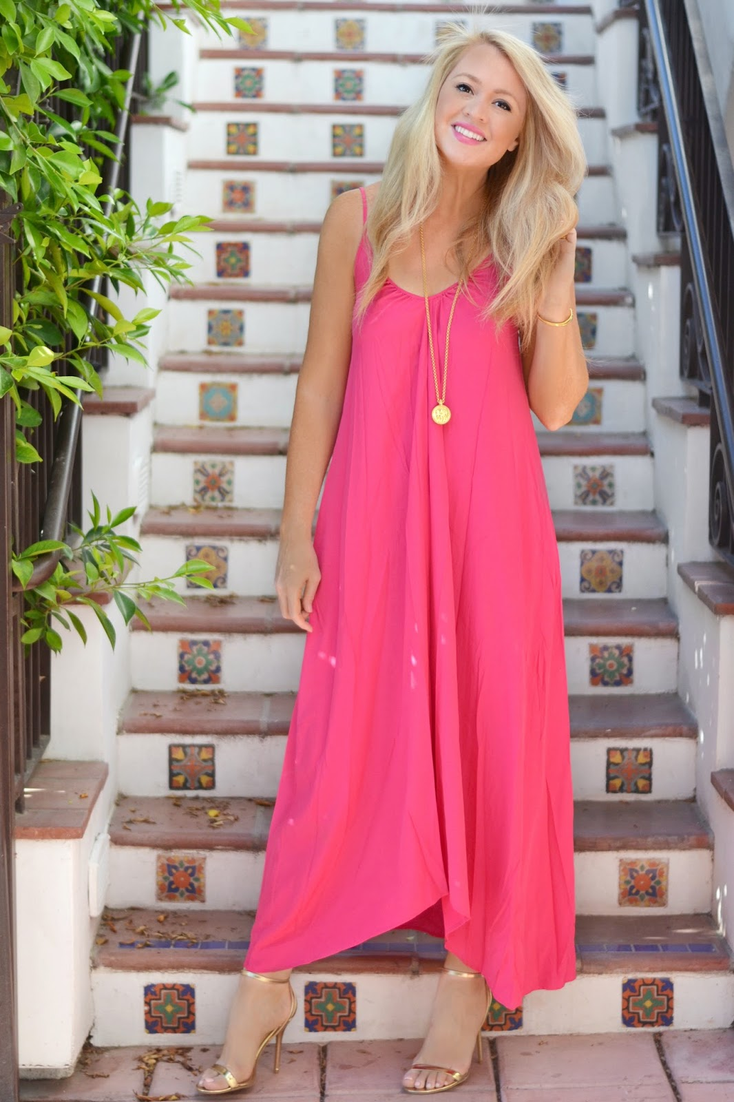 ONE by Pink Stitch Resort Maxi Dress magenta