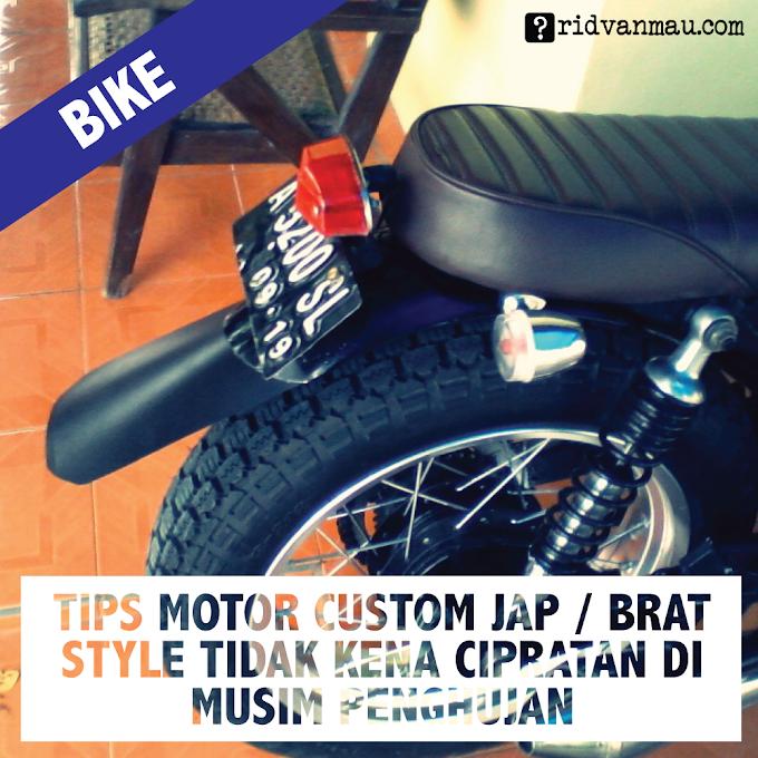 Tips Motor Custom Jap / Brat Style Tidak Kena Cipratan di MusimPenghujan