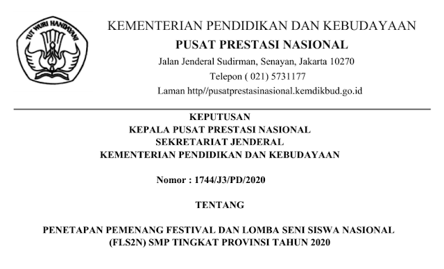 Download SK Pemenang & Peringkat 10 Besar FLS2N SMP Provinsi 2020 PDF