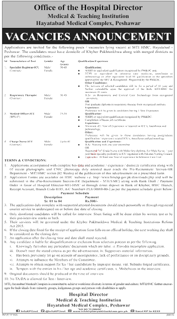 MTI Jobs 2020, MTI Hayatabad Medical Complex Jobs 2020