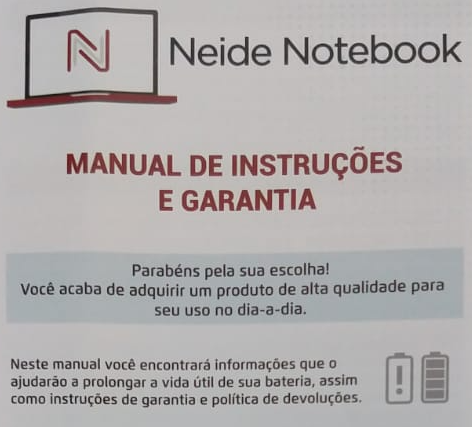 neide notebook manual de instrucoes de garantia