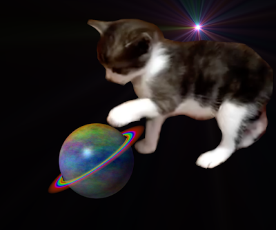 Kitten in space playing with a planet