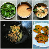 Malabar spinach leaves fritters are very tasty fritters which can be served as a snack or as a side dish with steamed rice. The fleshy thick malabar spinach leaves are dipped into a spicy chickpea batter and then fried till golden brown or till crisp in oil.