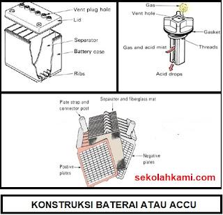 fungsi konstruksi cara kerja baterai atau accu