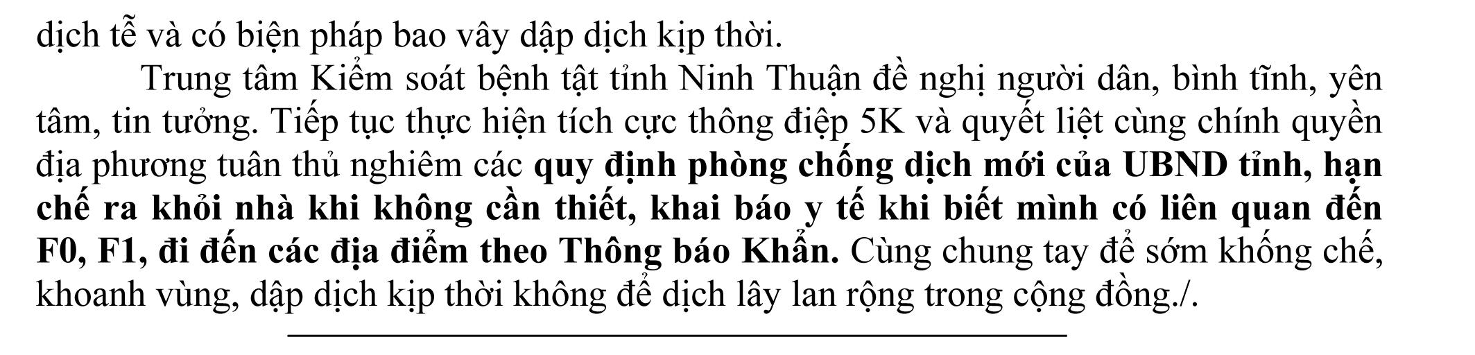 Ngày 12-9 Ninh Thuận ghi nhận có 2 ca mắc Covid-19 mới