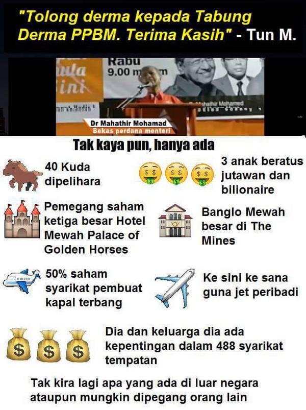 Keluarga Mahathir dan jatuh papa sehingga terpaksa merayu minta sedekah menguruskan PPBM