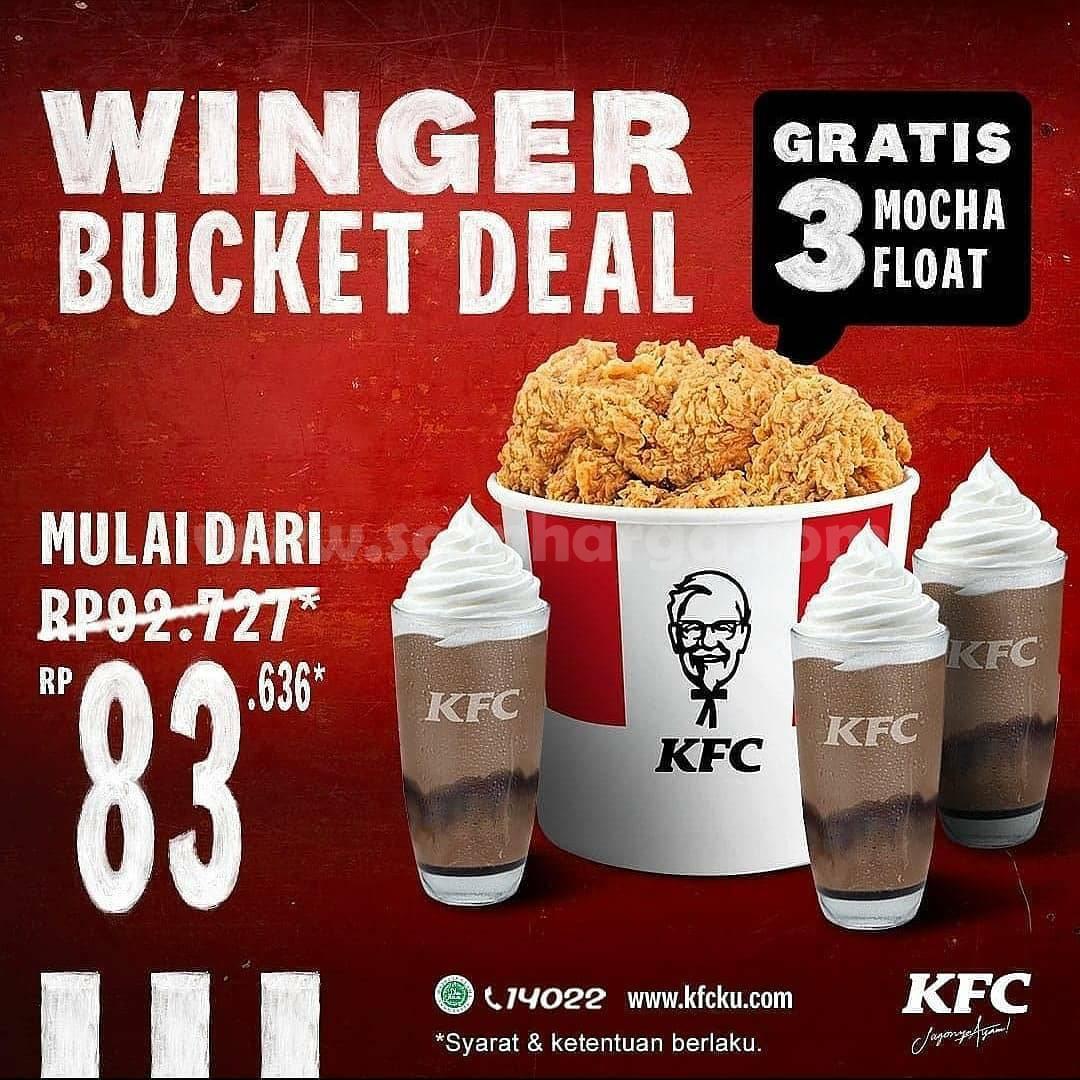 Promo KFC Winger Bucket Deal - Harga Spesial mulai dari Rp. 83.636 + Gratis 3 Mocha Float