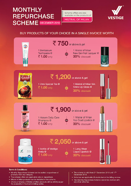 Vestige Re-Purchase Offer December 2019 for Distributors