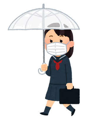 傘をさして歩く学生のイラスト(セーラー服・女子・マスク)