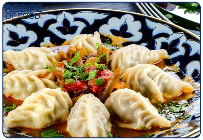 Chuchvara dumpling typical of Central Asian cuisine, small Uzbek dumplings
